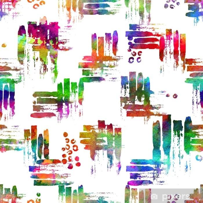Naklejka Pixerstick Kolorowy wzór z pociągnięciami pędzla i kropki. tęcza akwarela kolor na białym tle. ręcznie malowane tekstury grange. elementy geometryczne atramentu. moda nowoczesny styl. niezwykły - Zasoby graficzne