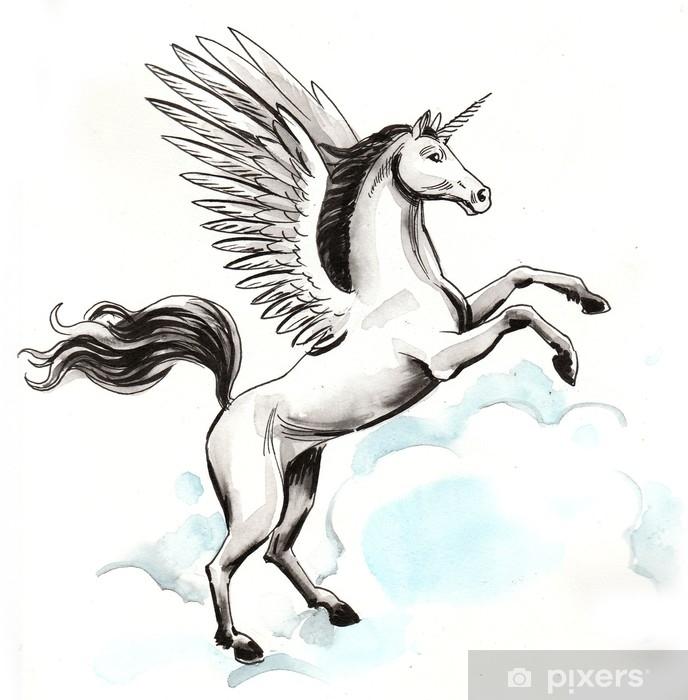 Alfombrilla de baño Pegaso blanco en el cielo - Animales