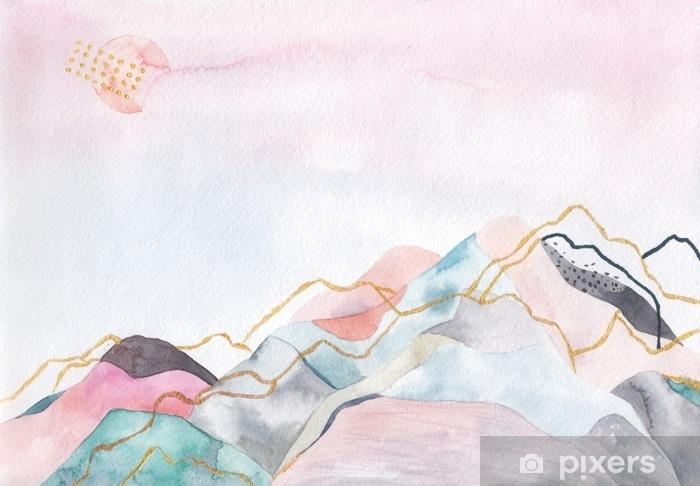 Pixerstick Sticker Abstracte aquarel achtergrond. japan ontwerp. hand getrokken illustratie - Landschappen