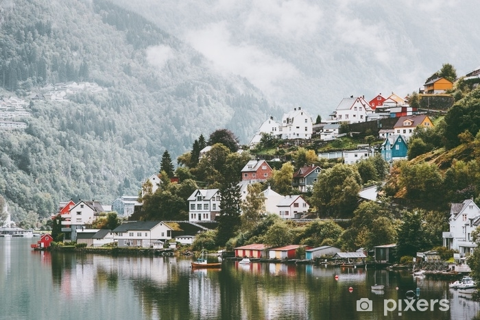 Odda city houses in Norway Landscape foggy mountains and water reflection . Washable Wall Mural - Buildings and Architecture