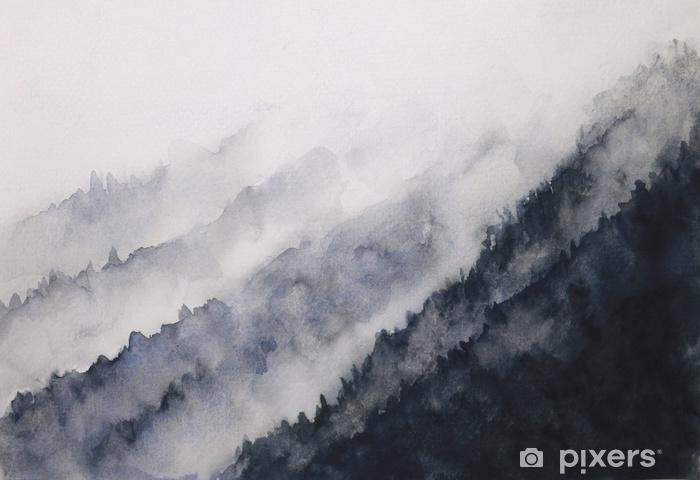 Naklejka Pixerstick Akwarela krajobraz górskiej mgły azjatyckich stylów sztuki - Krajobrazy