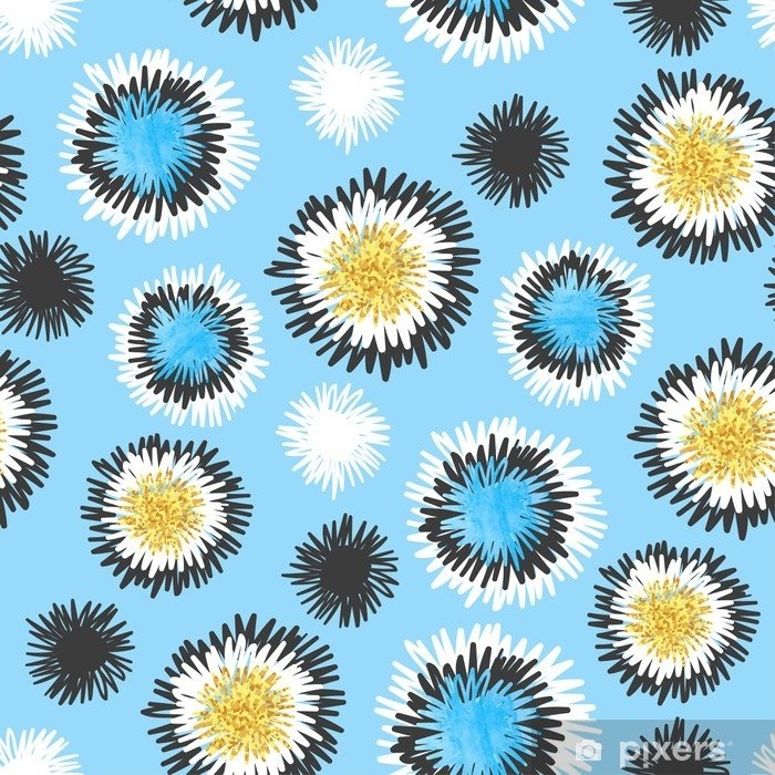 Sticker Pixerstick Modèle sans couture de cercles bleus dessinés à la main abstraite illustration vectorielle, conception de croquis. - Ressources graphiques