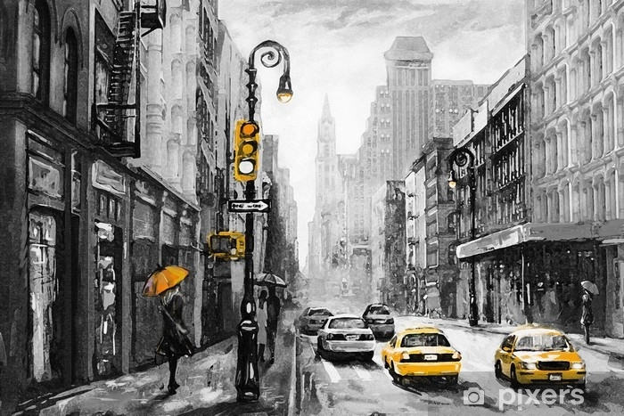 oil painting on canvas, street view of New York, man and woman, yellow taxi, modern Artwork, American city, illustration New York Vinyl Wall Mural - Travel