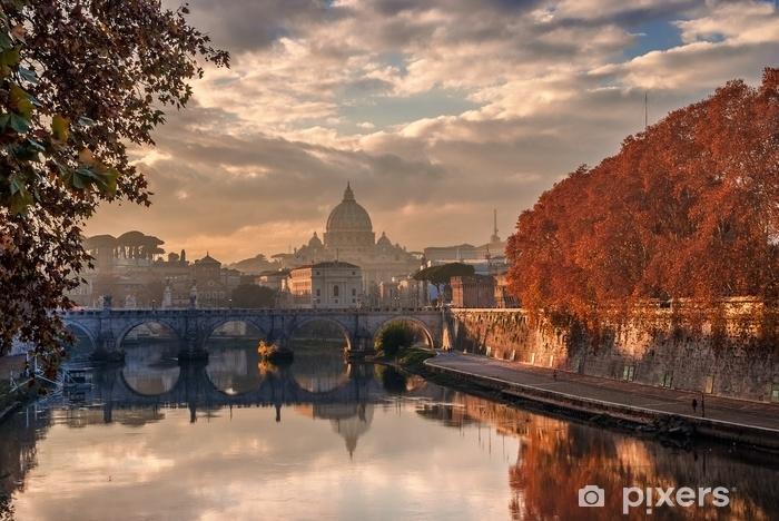 Vinyl Fotobehang Herfst zonsondergang in rome met saint peter dome - Landschappen