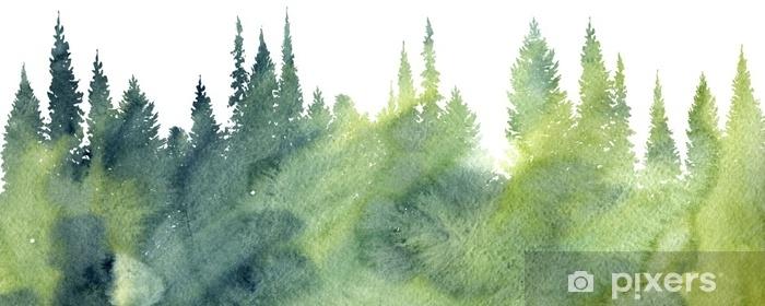 Fototapeta zmywalna Akwarela krajobraz z drzewami - Rośliny i kwiaty
