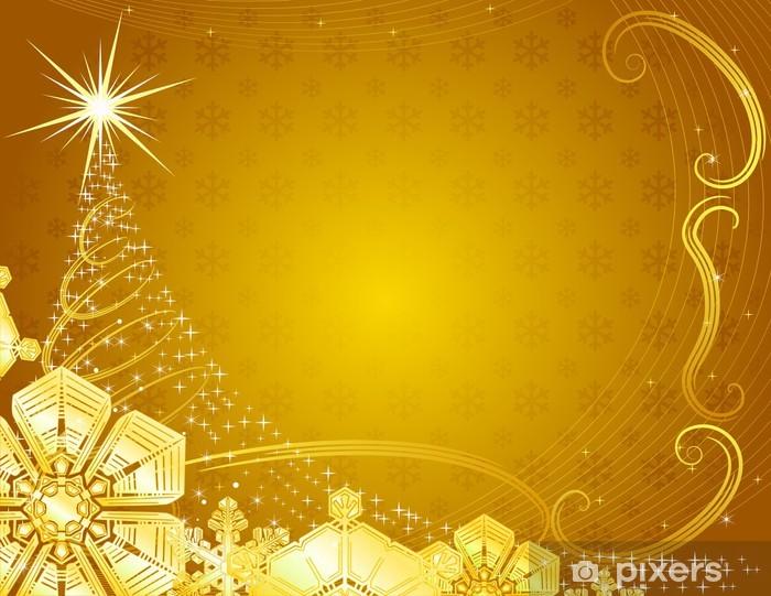 Nálepka Pixerstick Žlutá vánoční pozadí s sněhové vločky. - Mezinárodní svátky
