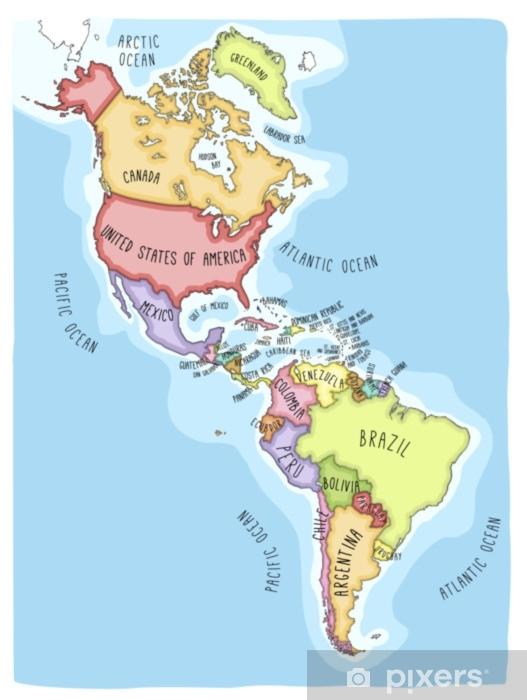 Fototapeta Recznie Rysowane Mapy Wektorowe Z Americas Kolorowe