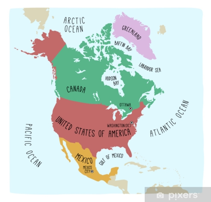 Hand drawn vector map of North America. Blueprint style cartography of  North America including Mexico, United States and Canada Poster