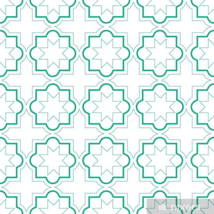 Fotomural Estándar Patrones sin fisuras de azulejos geométricos marroquíes, diseño de azulejos de vector, fondo verde y blanco - Recursos gráficos