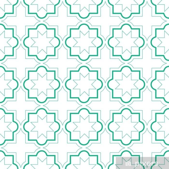 Fototapet av vinyl Marokkanske geometriske fliser sømløs mønster, vektor fliser design, grønn og hvit bakgrunn - Grafiske Ressurser