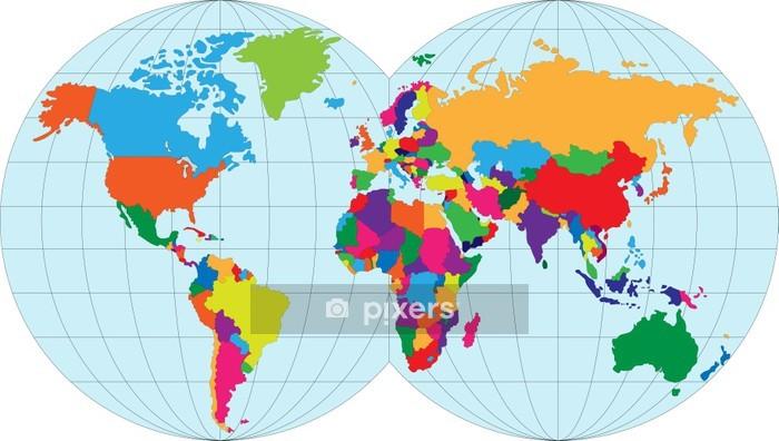 Vektori Kuva Kartta Maailmasta Seinatarra Pixers Elamme