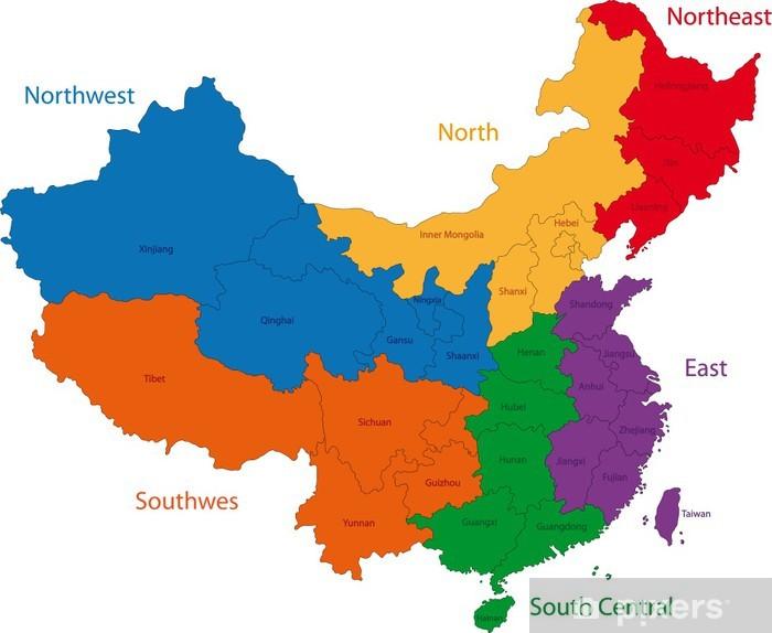 Carte Chine Hunan.Sticker Carte En Couleur Des Regions Et Des Divisions De La Chine
