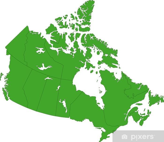 Vihrea Kanada Kartta Maakunnan Rajojen Kanssa Juliste Pixers