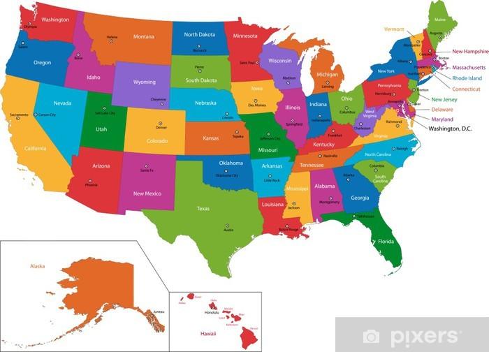 Vinyl Fotobehang Kleurrijke kaart van de VS met staten en hoofdsteden - Thema's