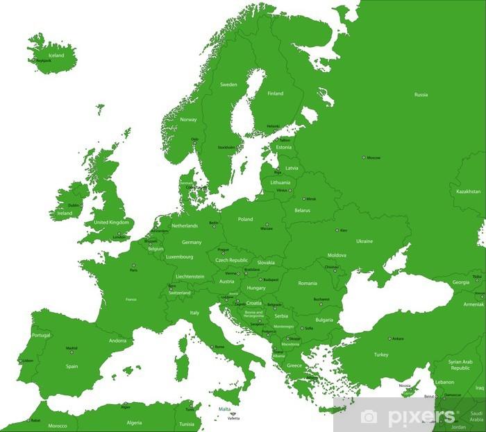 Nálepka Pixerstick Green Mapa Evropy se zeměmi a hlavními městy - Pozadí