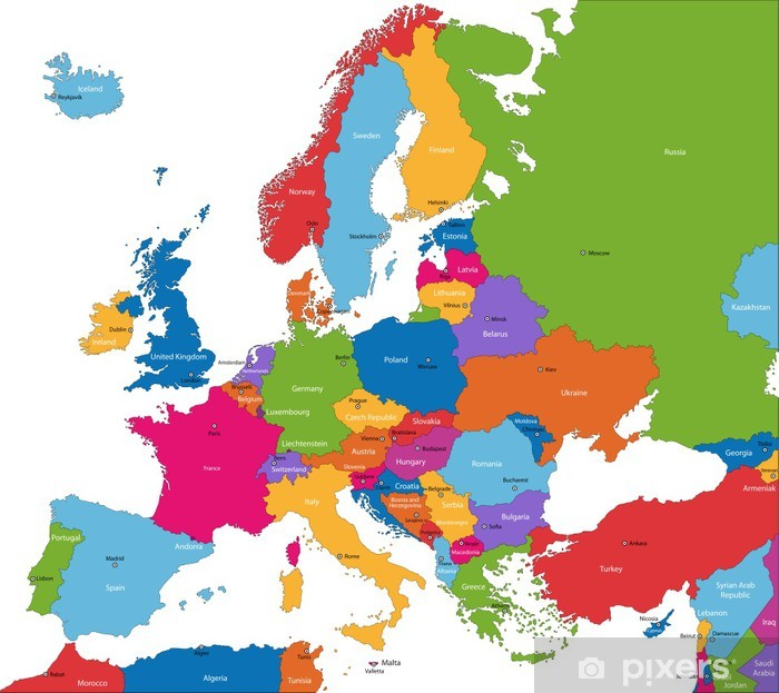 Vinyl Fotobehang Kleurrijke kaart van Europa met de landen en hoofdsteden - Thema's