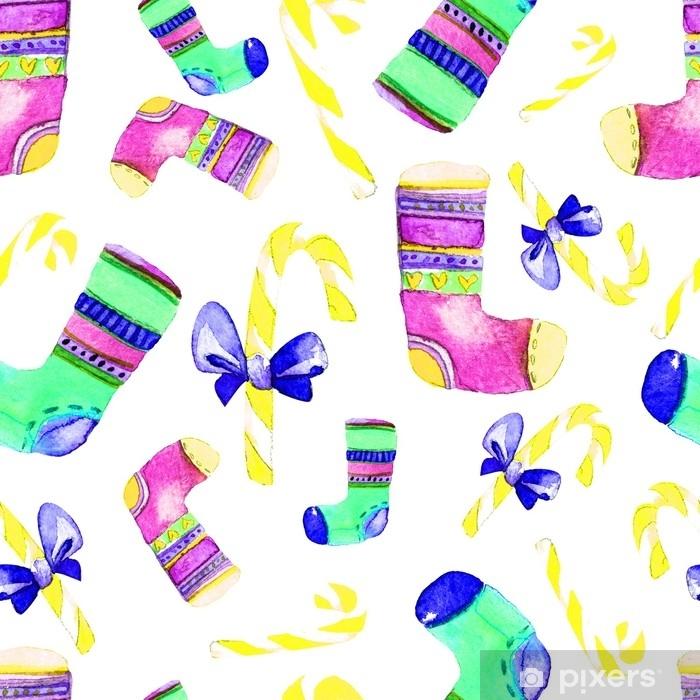 Fotomural Estándar Hermoso Patrón De Navidad Sin Fisuras Dibujado A Mano Ilustración Acuarela Fondo Para Su Diseño De Tarjetas De Felicitación