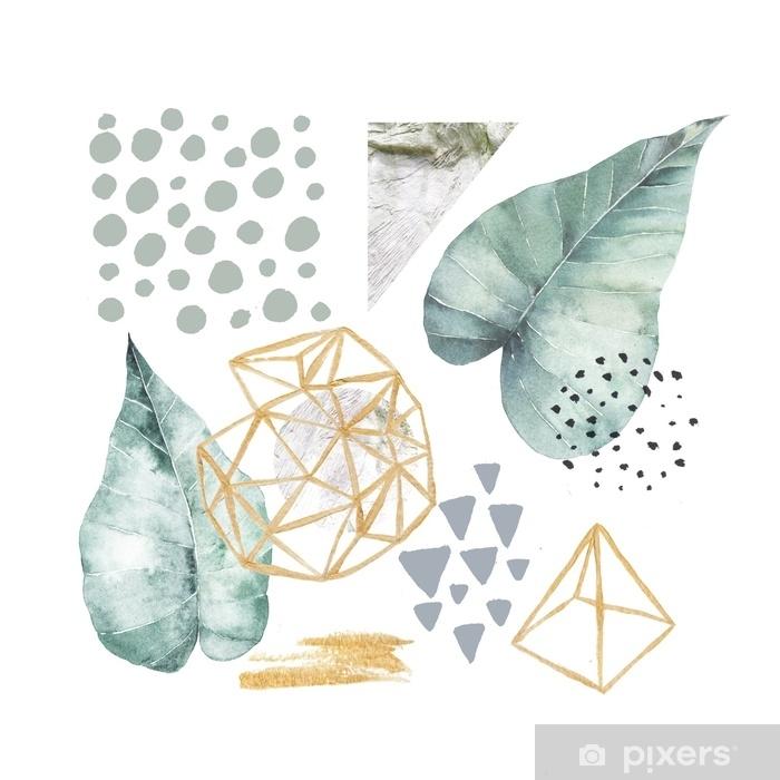 Sticker Pixerstick Illustration dessinée à la main avec des éléments d'aquarelle et de marbre. design scandinave. - Ressources graphiques