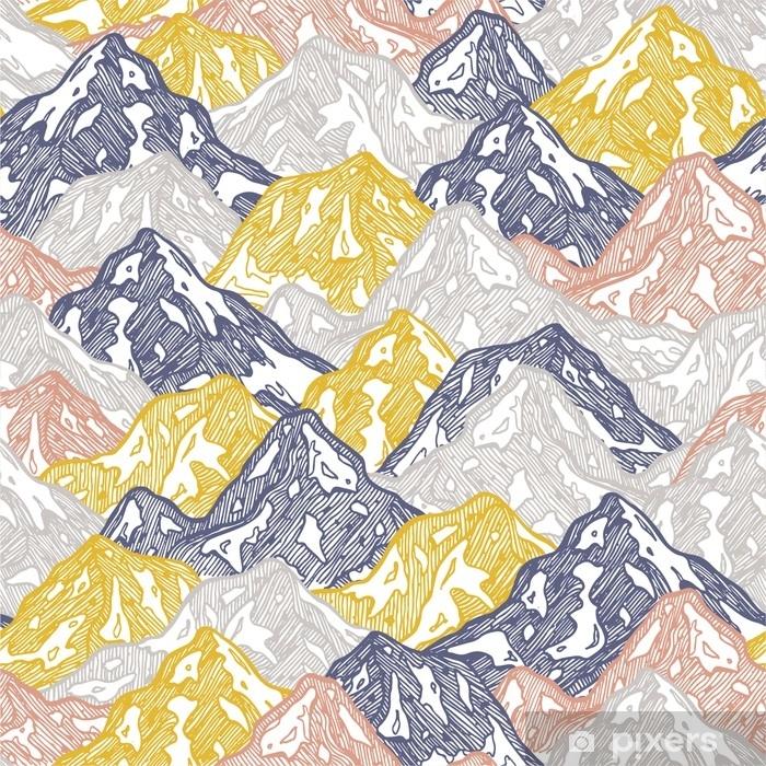 Vinilo Pixerstick Montañas de patrones sin fisuras. diversión montañas niño papel tapiz. ilustración vectorial - Deportes