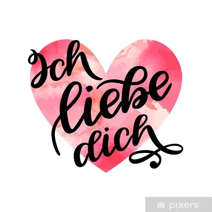 Aufkleber Handgeschriebener Text auf deutsch ich liebe