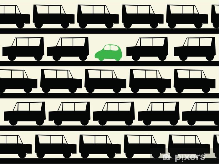 Naklejka Pixerstick Małe eko samochód w wielkim poluting świecie duży samochód - Transport drogowy