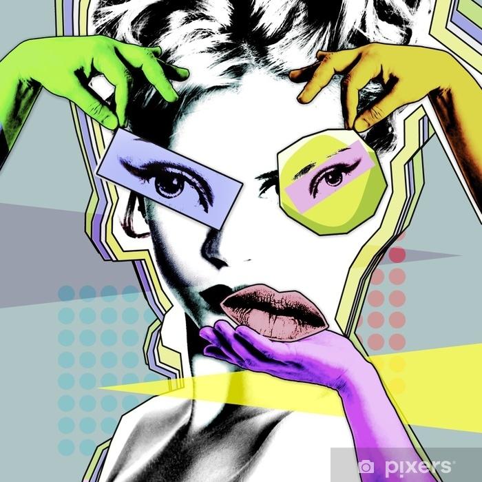 Pixerstick Sticker Vrouwelijke schoonheid en plastische chirurgie. retro poster in de stijl van pop art .. - Levensstijl