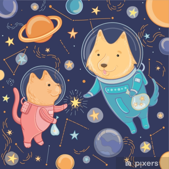 Carta da Parati in Vinile Illustrazione vettoriale con cane carino e gatto nello spazio - Scienze