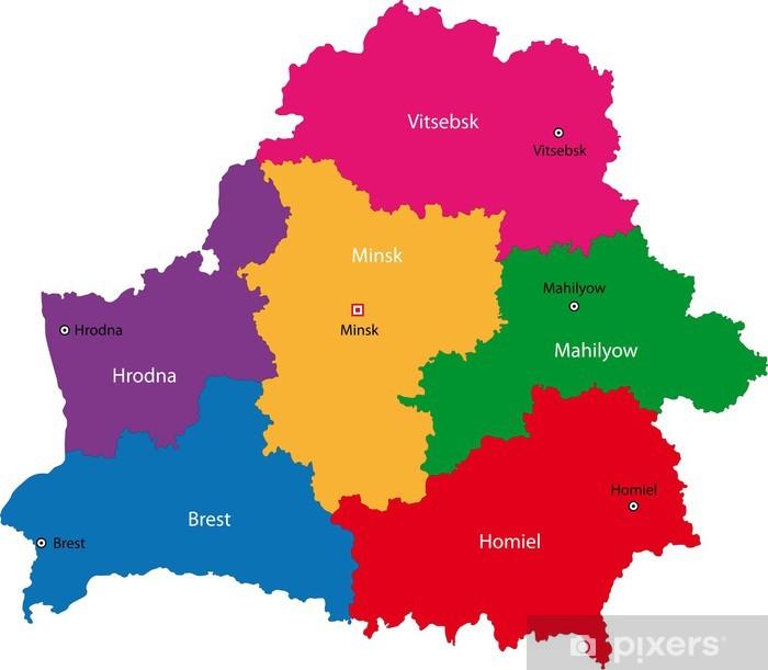 Naklejka Pixerstick Mapa podziału administracyjnego Republiki Białorusi - Tematy
