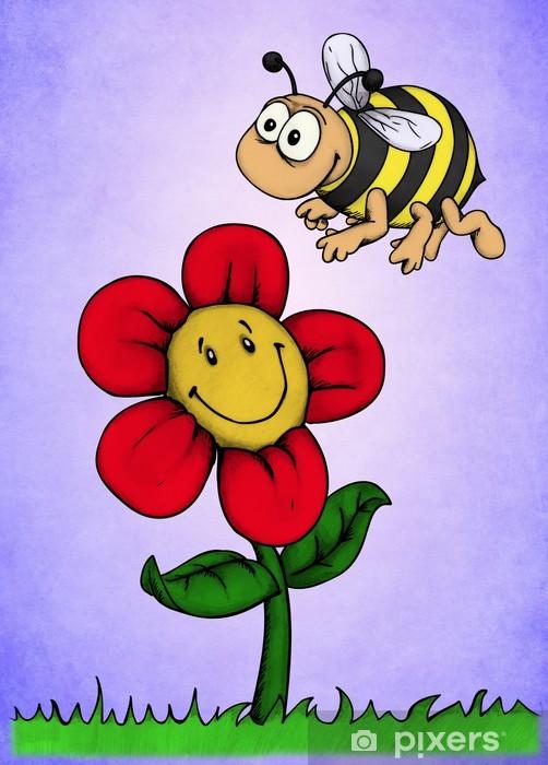 Pixerstick Aufkleber Blume, Biene, Honig, Freunde, Hummel, Wiese - Jahreszeiten