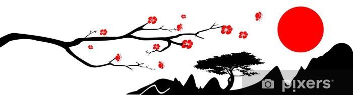 Pixerstick Sticker Japan achtergrond - Muursticker