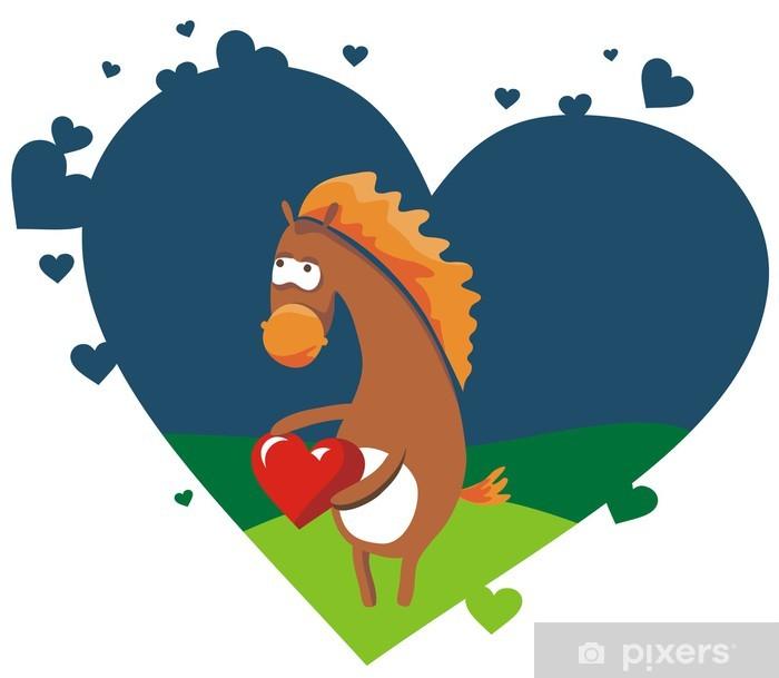 Vinylová fototapeta Valentine karta s pěkný kůň držel červené srdce - Vinylová fototapeta