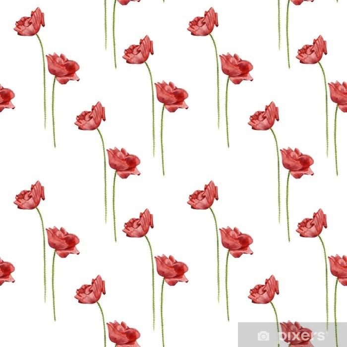 Poster Modèle sans couture avec des fleurs de pavot aquarelle - Plantes et fleurs