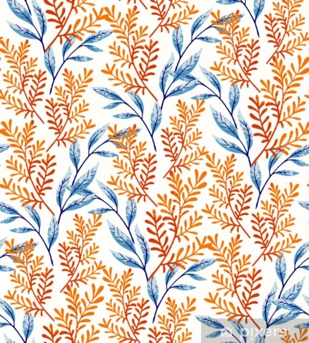 Vinil Duvar Resmi Yaz yaprakları desen - Çiçek ve bitkiler