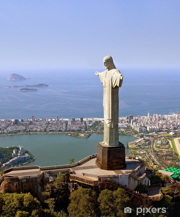 Aerial View of Christ the Redeemer Monument in Rio De Janeiro Vinyl Wall Mural - Brazil