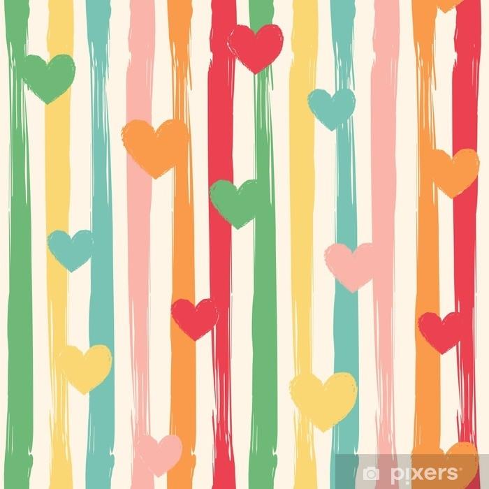 Retro Farben.Fototapete Nahtloses Vektormuster Mit Abstrakten Streifen Und Herzen In Retro Farben