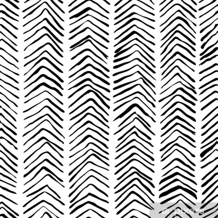 Fototapeta winylowa Wektor czarno-biały ciągnione wzór w jodełkę. streszczenie uderzeń tekstura tło, włazy akwarela, atrament i znacznik. modna skandynawska koncepcja projektowania modowego druku tekstylnego. - Zasoby graficzne