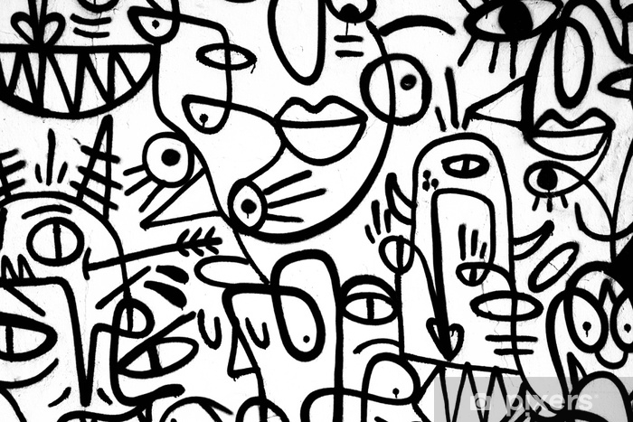 black-and-white pattern graffiti on the wall.Spain,Jerez,January 2018.Interesting background Pixerstick Sticker - Graphic Resources