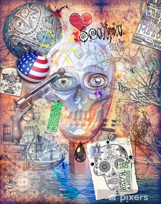 Alfombrilla de baño Murales con teschio, cuore, pistola, graffiti e collage - Ciencia