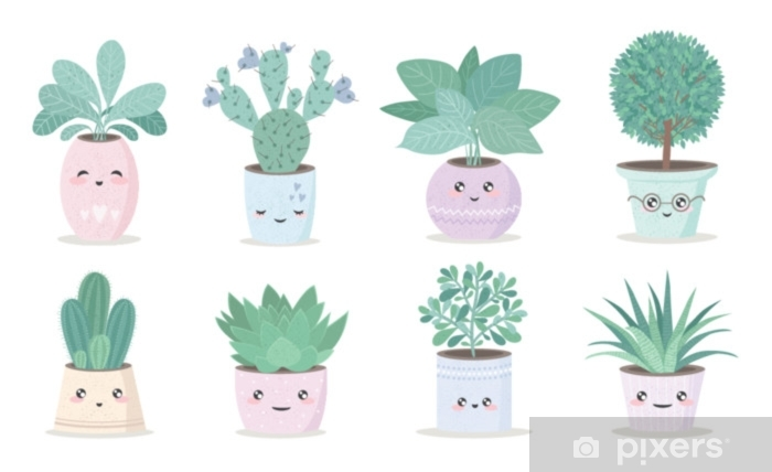 cute house plant in flower pot Pixerstick Sticker - Plants and Flowers