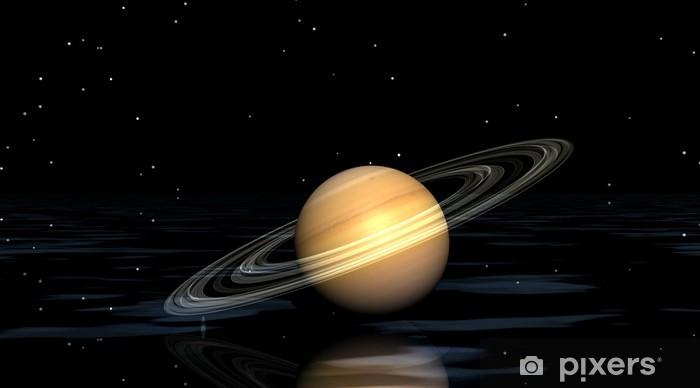 Carta da Parati in Vinile Pianeta Saturno e acqua - Pianeti