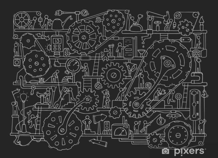 Pixerstick Sticker Schets van mensen teamwerk, tandwielen, productie. - Industrie