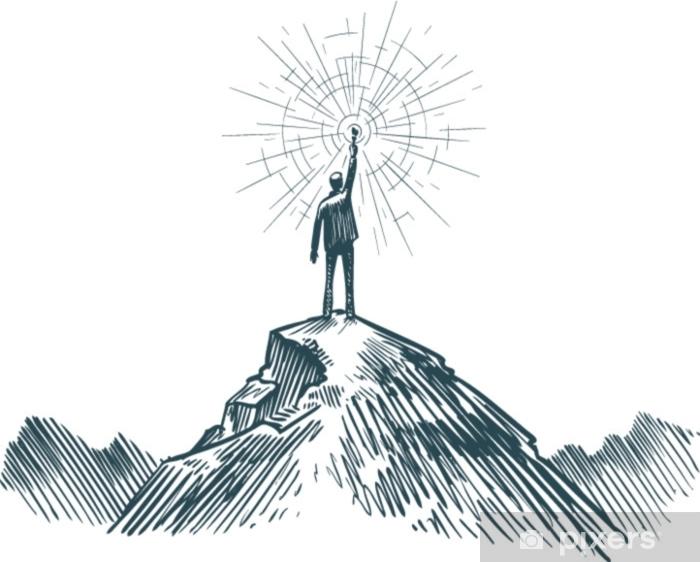Mies seisoo vuoren huipulla kädessä. liiketoimintaa, tavoitteen saavuttamista, menestystä, löytämiskonseptia. luonnos vektori kuva Ikkuna- ja lasitarra - Ihmiset