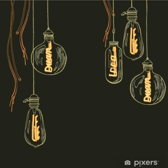 Pixerstick Sticker Een set lampen van edison. gloeiende woorden in elektroden: leven, dromen, idee - Technologie