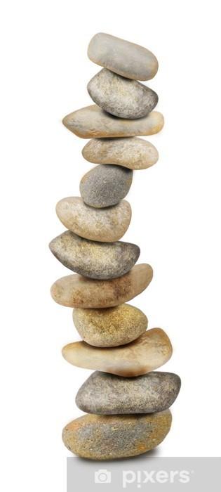 Fotomural Estándar Doce piedras de Zen en blanco - Religión