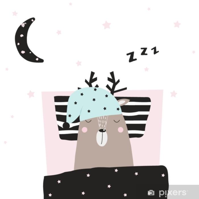 Fototapeta winylowa Zabawne sarny śpiące w jego łóżku. wektorowa ręka rysująca ilustracja. - Zwierzęta