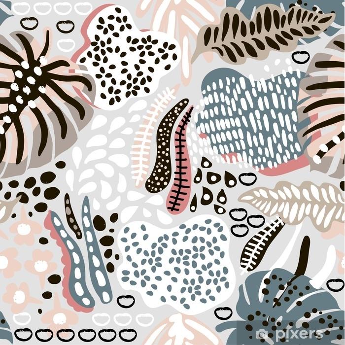 5eb09b899 Fototapet av vinyl Palm Branch trendy sømløs mønster med håndtegnede  elementer. abstrakt tropisk bakgrunn. Flott for stoff, tekstil vektor ...