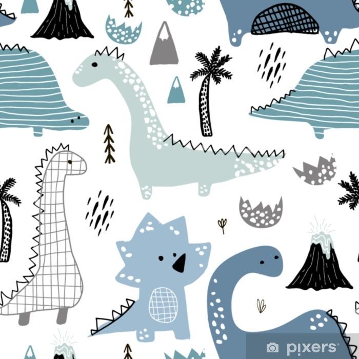 70ce81299 Fototapet av vinyl Barnlig sømløs mønster med hånddrekket dino i  skandinavisk stil. kreativ vektor barnslig bakgrunn for stoff, tekstil