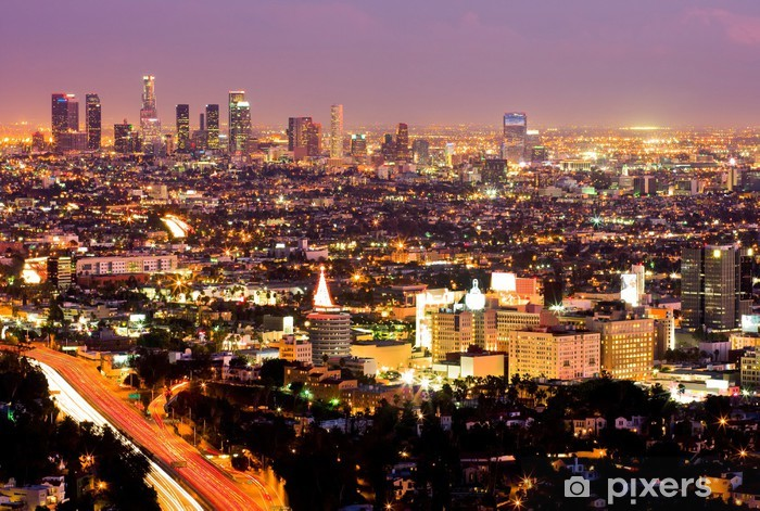 Los Angeles and Hollywood at night Pixerstick Sticker - Themes