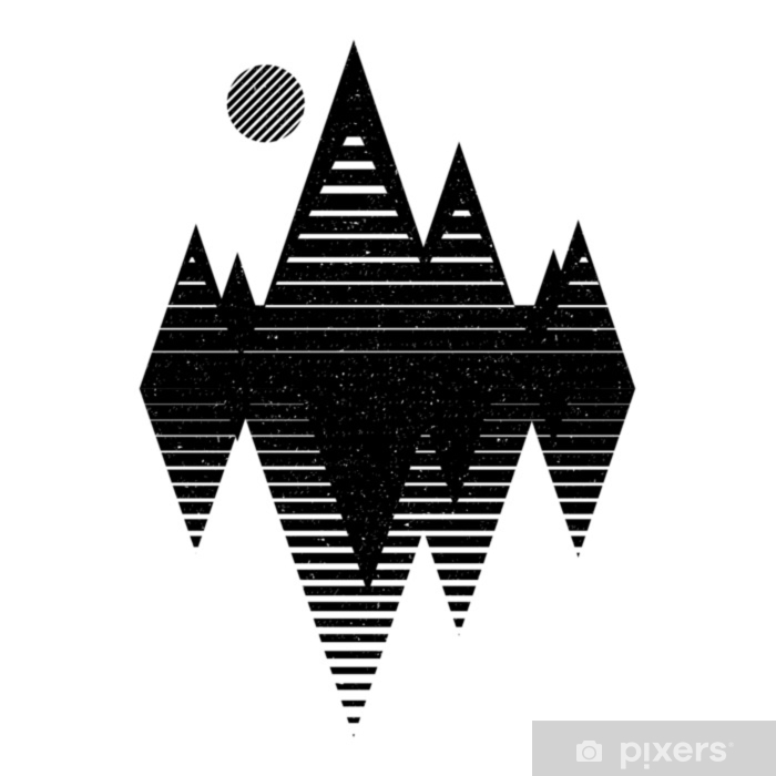 Geomerty design composition.Vector geometric triangle background, abstract mountains. Flat design, with minimal elements. Graphic design. Use for card, poster,banner,web. Poster - Landscapes