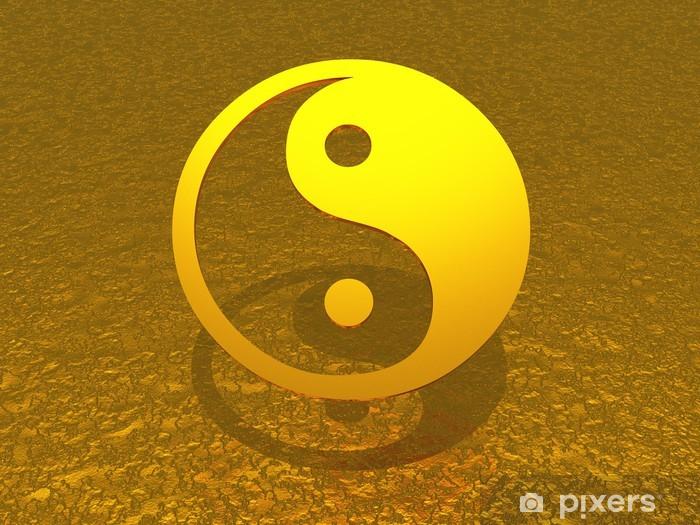 Vinyl-Fototapete Ying Yang Gold schwebend - Religion